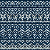 Nordic traditional Fair Isle style seamless pattern on the wool knitted texture poster