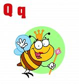 Funny Cartoons Alphabet-Queen Bee With Letters Q poster