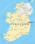 Ireland Political Map with capital Dublin, national borders, most important cities, rivers and lakes. English labeling and scaling. Illustration. poster