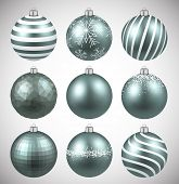Dim christmas balls on white surface. Set of realistic decorations. Vector illustration.  poster