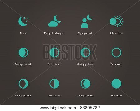 Moon different silhouettes icons set.