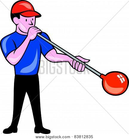 Glassblower Glassblowing Isolated Cartoon