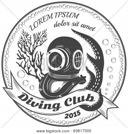 Diving club label with coralls, diving helmet and octopus tentacles poster
