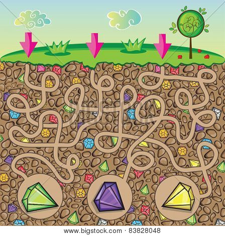 Maze For Children - Nature, Stones And Precious Stones Under The Ground