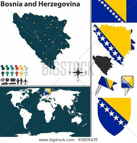 Vector map of Bosnia and Herzegovina with regions coat of arms and location on world map poster