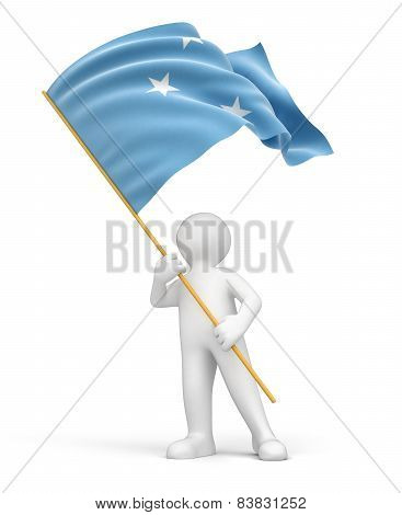 Man and Micronesian flag (clipping path included)