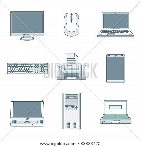 Colored Outline Computer Gadgets Icons.