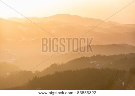 Mountain range at sunset, Black Forest, Germany