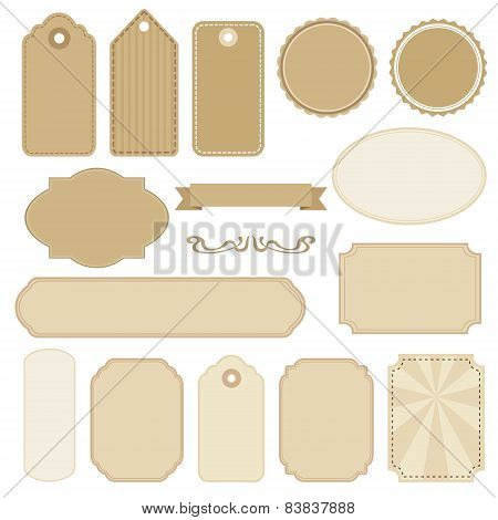 Set Of Blank Vintage Frames, Tags And Labels, Vectors