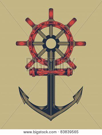 Illustration of anchor with handwheel.
