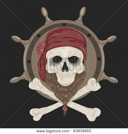 Image Pirate Skull with a beard .
