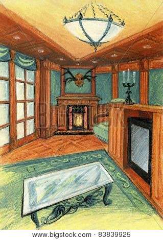 Stylish room with natural wood combined with the green textiles. The option of a grandfather   clock