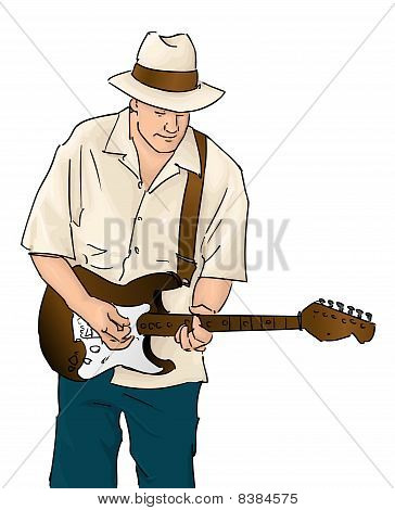 Vector Blues Musician with Guitar