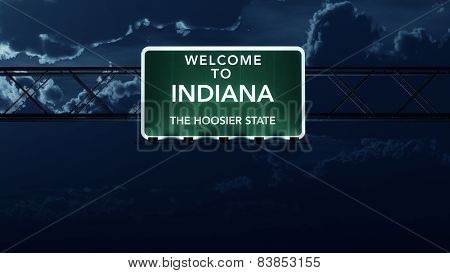 Indiana USA State Welcome to Interstate Highway Sign at Night