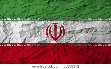 Flag Of Iran With Old Texture. Vector