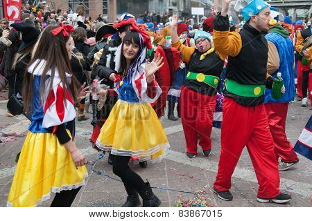 XANTHI GREECE - FEB 22: Unidentified participants of carnival street parade in Xanthi on Feb. 22 2015 in Rodopi Xanthi Greece. Group of people dancing dressed in carnival costumes. poster