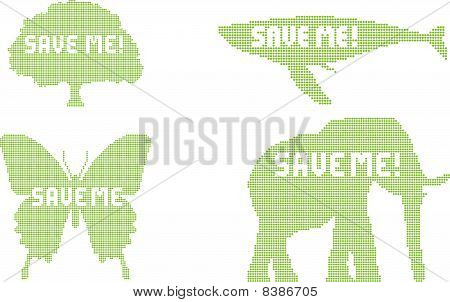 Dotted silhouettes with a save me! slogan poster