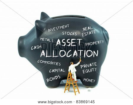 Asset allocation theme piggy bank