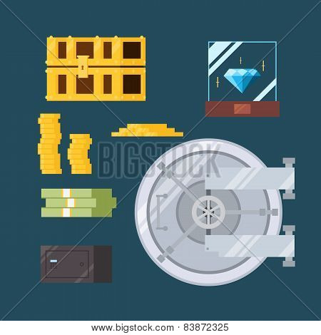 Flat Design Of Cash And Valuable Safe