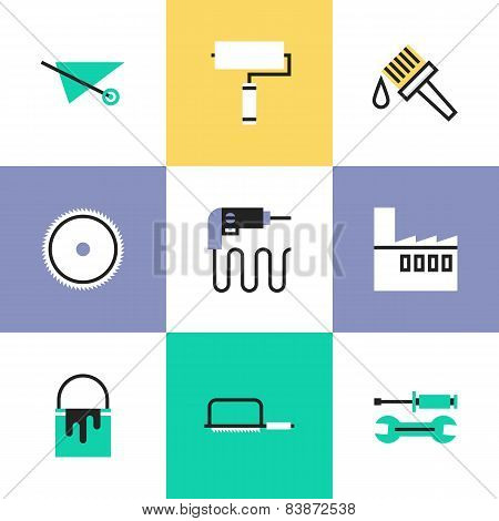 Construction Instruments Pictogram Icons Set