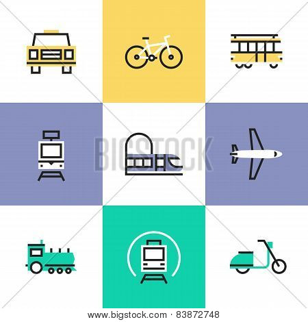 Flat line icons of various city transport public transportation movement carriage passenger by rail and air travel. Infographic icons set logo abstract design pictogram vector concept. poster