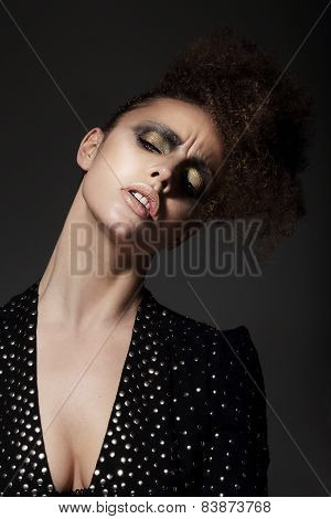 Charming Lady With Golden Eyeshadow In Reverie
