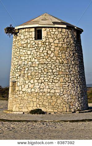 Windmill at Lefkada islnad in Greece