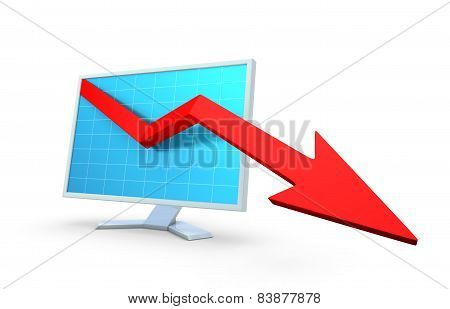 Computer monitor with business graph. Isolated on white.
