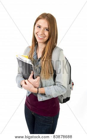 young beautiful college student girl carrying backpack and books posing happy and confident in university education and academic success concept isolated on white background poster