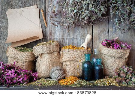 Healing Herbs In Hessian Bags, Paper Sheet And Bottles Near Wooden Wall, Herbal Medicine.
