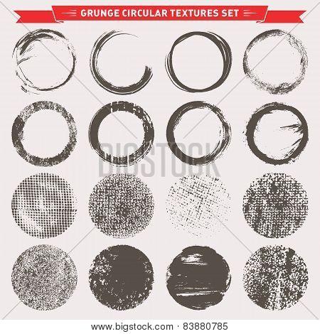 Grunge Circular Texture Backgrounds Vector