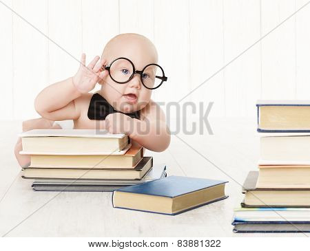 Baby In Glasses And Books, Kids Early Childhood Education And Development, Smart Child Preschool Rea