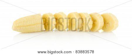 Closeup Photo Of Sliced Banana On White Background