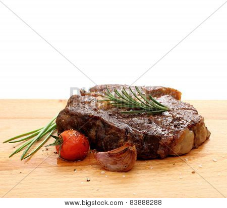 Steak Rib-eye Garnished With Grilled