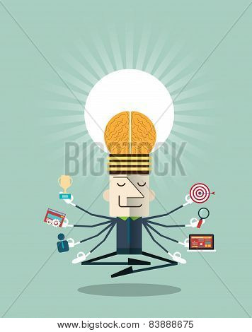 Illustration Of Businessman Meditating With Multitasking