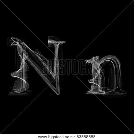 Smoke font. Letter N