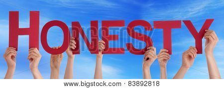 Many People Hands Holding Red Straight Word Honesty Blue Sky