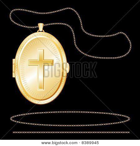 Gold Cross Locket