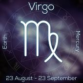 Zodiac sign - Virgo. White line astrological symbol with caption dates planet and element on blurry abstract background with astrology chart. poster