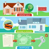 Approved mortgage loan application with house key. Sold home with for sale sign in front of beautiful new house. Buying house money from card for home. Real estate concept poster