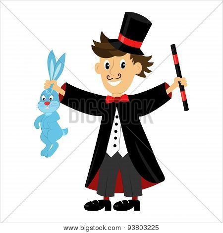 Vector Cartoon Character Magician Holding A Magic Wand And A Rabbit