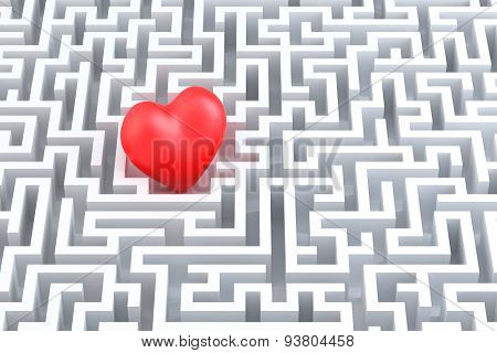 Red heart in the middle of the maze. 3D illustration.