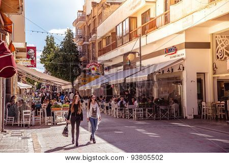 NICOSIA - APRIL 13 : People walking on Ledra street on April 13 2015 in Nicosia Cyprus. It is is a major shopping thoroughfare in central Nicosia