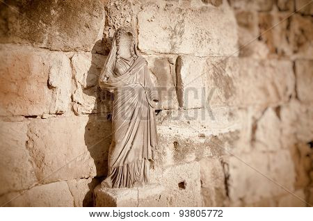 Faceless statue at Salamis Ruins. Famagusta District, Cyprus poster