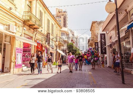 Nicosia - April 13 : Ledra Street, A Major Shopping Thoroughfare In Central Nicosia On April 13, 201