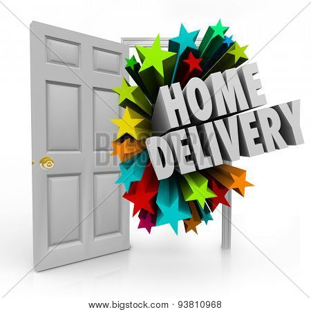Home Delivery words in 3d letters coming in an open door to illustrate special shipment and arrival of your ordered products