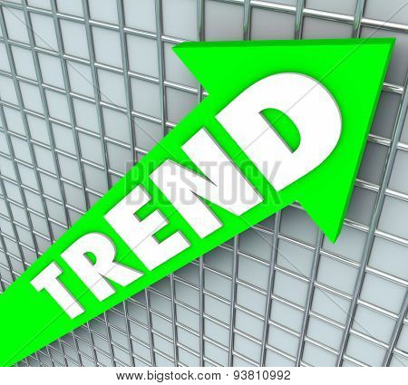 Trend word on a green arrow on chart or graph to illustrate rise, improvement, increase, higher popularity or good results
