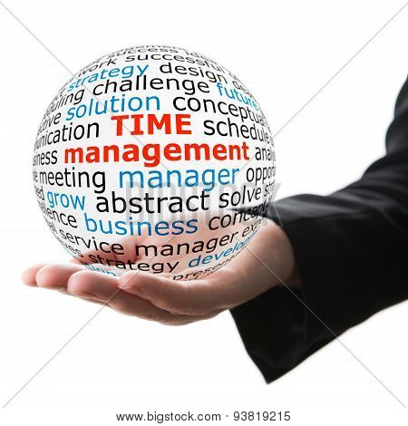 Sphere in hand with inscription time management