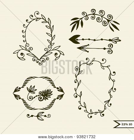 Hand drawn vector set of vintage design elements for wedding greting card poster. Vector set