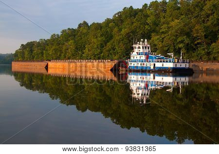 Tugboat And Barges
